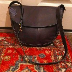 Vintage Coach Navy Blue Crossbody Shoulder Bag